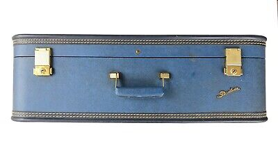 Vintage 1950's Starline Silver Blue Suitcase And Key 26x16x8