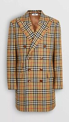 Burberry 42R XL Vintage Check Wool Double Breasted Jacket Blazer Plaid $1,590