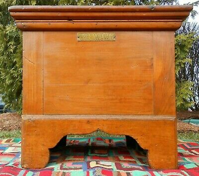 Rare Early 20Th C Antique 'White Mountain' Nashua, Nh Wood Dairy Chest, Tin Int