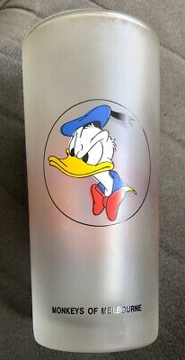Rare MONKEYS OF MELBOURNE Frosted Glass Tumbler.DONALD DUCK