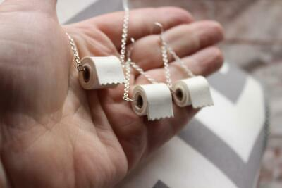 ORIGINAL USA TOILET PAPER Roll Necklace Sterling Earrings SET Silver Link Chain