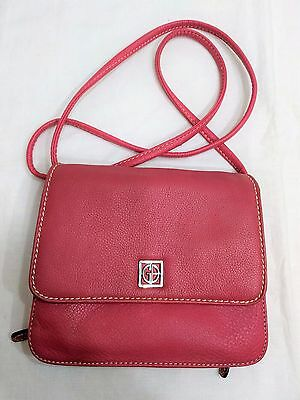 GIANI BERNINI Genuine Small Leather Cross Body Organizer Purse Pink *EXCELLENT*