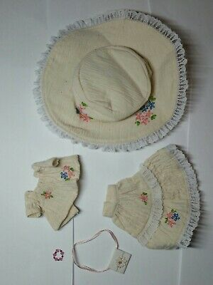 """11"""" artisan made blythe sized clothing cream khaki lace skirt top & hat outfit"""