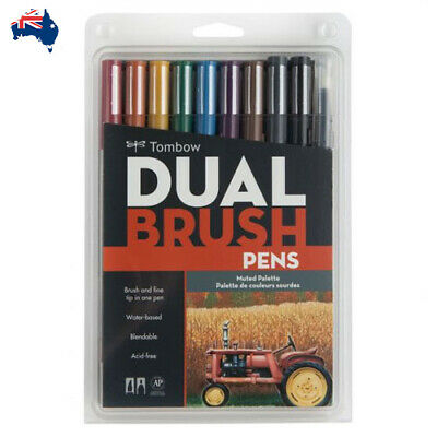 Tombow Dual Brush Pen Set 10 Muted Colours (Reduced to Clear)