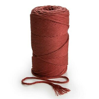 3mm Macrame cord   CINNAMON RED 100 % cotton single twisted crafting rope