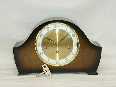 Bentima Hermle Oak Triple 3 Tune Whittington Chime Napoleon Style Mantle Clock