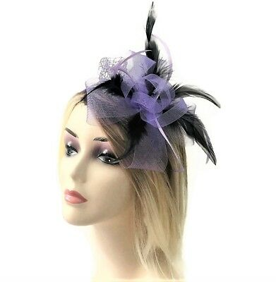 Lilac and Black Bow Net Fascinator on Flexible Headband with Feathers
