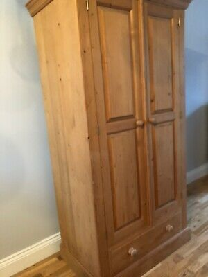 Single Solid Pine Antique Wardrobe 1Draw Dovetail Joints Waxed Delivery Possible