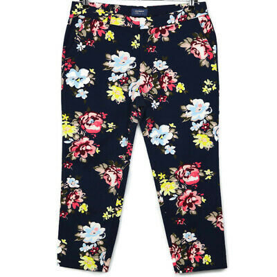 Old Navy Harper Womens Pants Cropped Mid Rise Size 12 Blue Floral Stretch