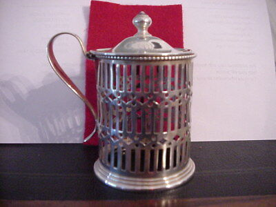 Mauser Manufacturing Co. Sterling Silver Lidded Condiment Jar w/Monogram