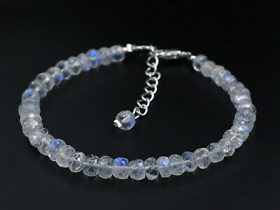 """Natural Superfine Quality Rainbow Moonstone 4-5mm Rondelle Faceted Bracelet 7"""""""