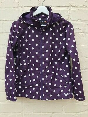 Girls Purple & White Polkadot Jacket By Peter Storm Age 11-12Yrs