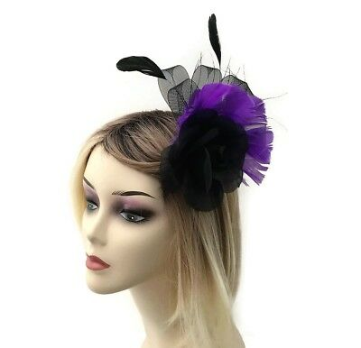 Rose Flower Fascinator on a Hair Clip Brooch Beautiful Black and Purple