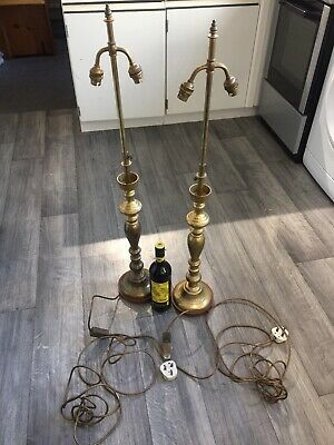 Pair Vintage Solid Brass Lamps Very Large & Adjustable. Early -mid Century.