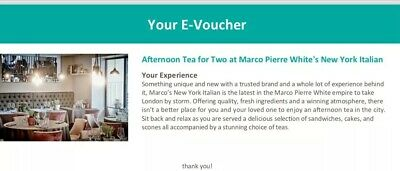 Gift Voucher For Afternoon Tea for 2 at Marco Pierre White's London