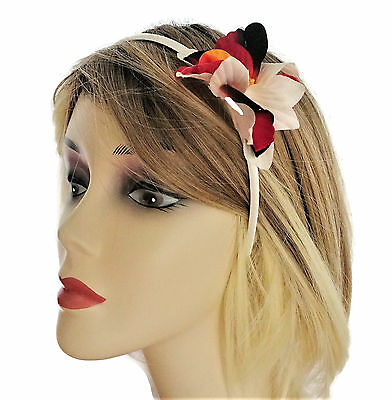 Orchid Fascinator Flower on a Satin Headband Beautiful Ivory Red Black