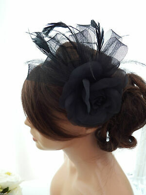 Black Rose Feather & Net Bow Hair clip Fascinator Brooch Wedding Races