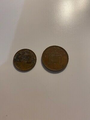 1971 1p One New Penny + 1/2p Half New Pence Coin, A Pair