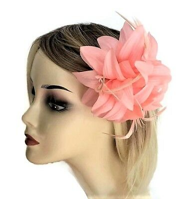 Flower Hair Clip Grip Fascinator in Pale Peach with feathers