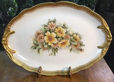 Antique Limoges Gold Trimmed Handpainted Oval Display Dish Signed by Artist