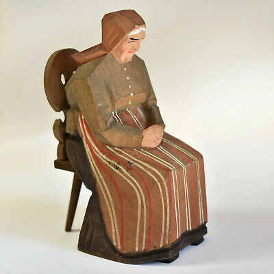 "4.5"" Carved Wood Figure - Canadian Folk Art - Flat Plane Carving - Old Woman"