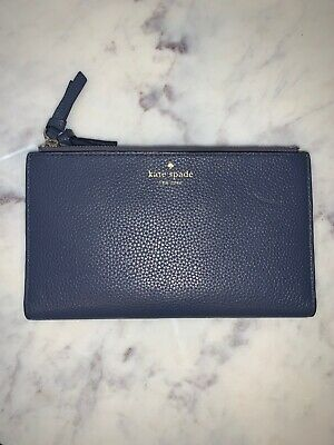 EUC - Kate Spade Oyster Blue Pebbled Leather Wallet Clutch Bifold