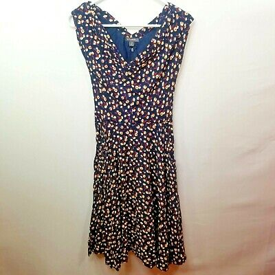 Mod Cloth Emily and Fin Womens Blue Floral Fit & Flare Midi Dress w/Pockets XS
