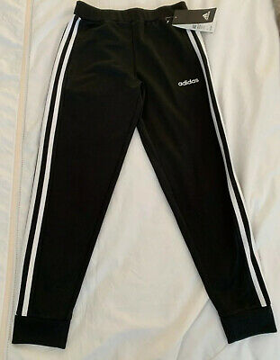 Adidas Junior Girls Black Linear Tricot Jogger Small 7/8 Years