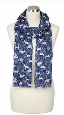 Womens Peony London Blue Green Reindeer Design Scarf Washable Mothers Gift