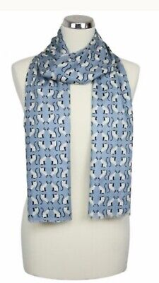 Womens Peony London Blue Cats Design Scarf 100%Viscose Washable Mothers Day Gift