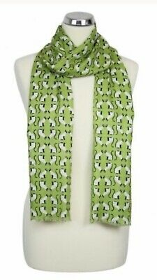 Womens Peony London Green Cats Design Scarf 100%Viscose Washable Mothersday Gift