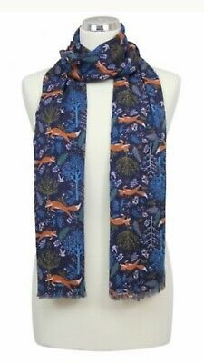 Womens Peony London Brown Blue  Foxes Design Scarf Washable Mothers Gift