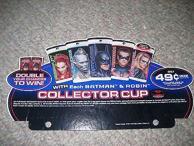 1997 Batman Robin Movie Taco Bell Collector Cup Sign Register Topper Display