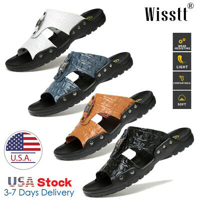 Summer Beach Men Casual Leather Sandals Shoes Outdoor Anti-slip Slippers US 5-13