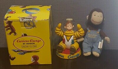 Curious George Astronaut Snow Globe With Display Box & Bonus Plush George 1997
