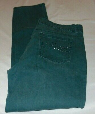 """Womens RIDERS by LEE Green Straight JEANS Size 16 M Inseam 30"""""""