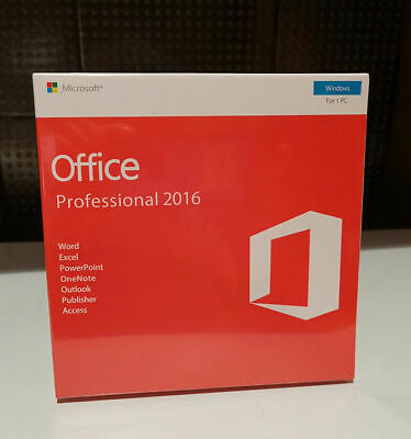 Microsoft Office 2016 Professional Plus Windows With Key Card And DVD for 1 PC