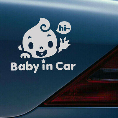 x2 small car decals Baby on Board cute baby waving STICKERS