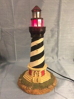 Light Up ST Augustine lighthouse Lamp red glass top lights up and shines out