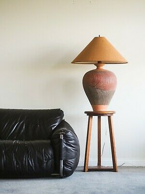 Rare large vintage hand crafted terracotta lamp Mid Century Modern MCM Eames era