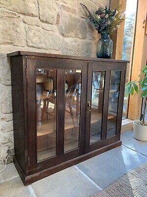 Old Shop Glass And Wood Display Cabinet With Lighting