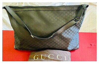 Gucci Men's Duffle Travel bag GG black nylon canvas & leather Luggage Large size