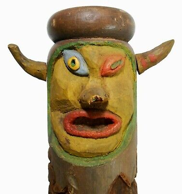 "Rare Mid-20Th C Vint American Folk Art 55"" 4-Sided Face, Tiki Carved Porch Post"