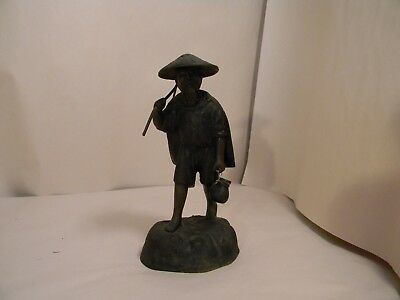 Antique Chinese Bronze Male Figurine Carrying Pole & Jug