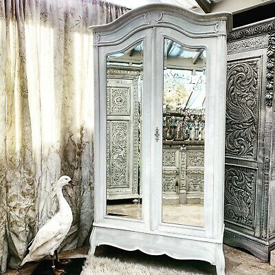 French Painted Arched Armoire Two Mirrored Doors