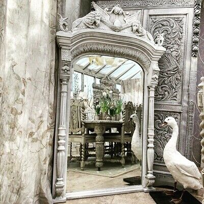 Huge Floor Standing Large French Antique Carved  Lions Arched  Mirror