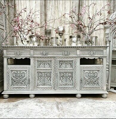 Painted Antique Carved Sideboard