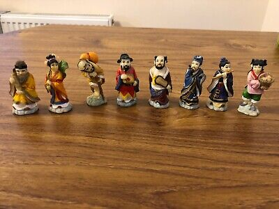 8 Vintage Chinese Small Resin Figures Hand painted