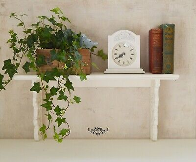 Wall Shelf White Shabby Chic French Style Carved Hand Painted Wooden Bookcase