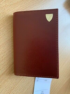 £80 Aspinal of London Smooth Cognac leather business card holder - brand new